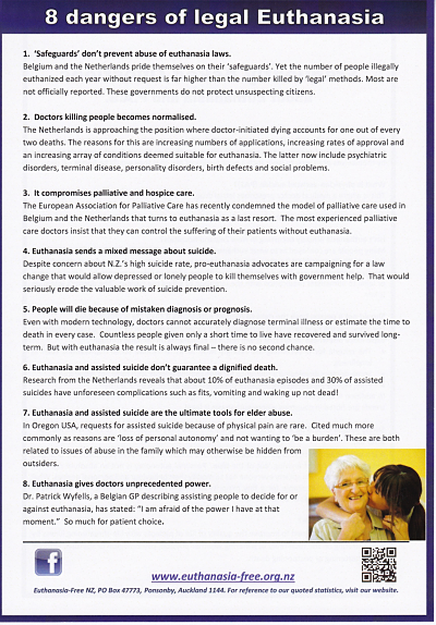 Front page of flyer entitled: Eight Dangers of Legal Euthanasia