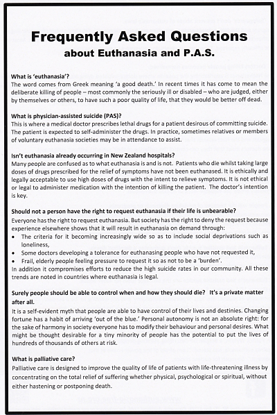 Frequently Asked Questions about Euthanasia and Physician-Assisted Suicide (back of flyer)